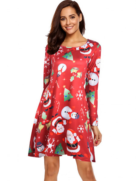 Laceshe Women's Comfort Christmas Style Vintage Dress