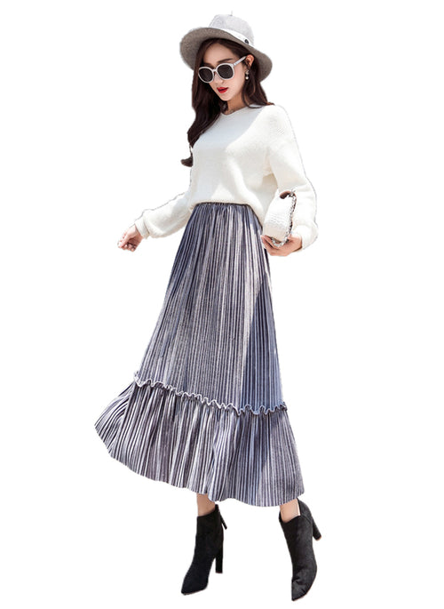 Laceshe Women's Pleated Long Velvet Skirt