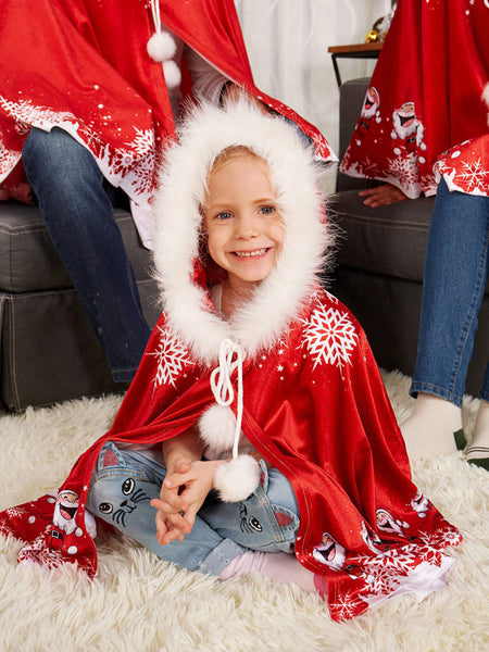 Laceshe Family Christmas Party Parent-Child Cloak