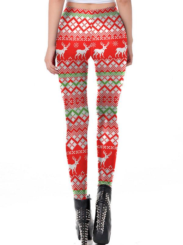Laceshe Women's Funny Christmas Print Costume Leggings