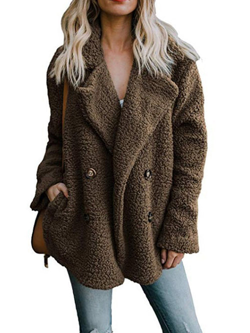 Laceshe Women's Faux Shearling Outerwear Soft Jacket