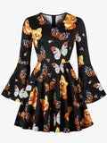 Laceshe Women's Bell Sleeve Halloween print Vintage Dress