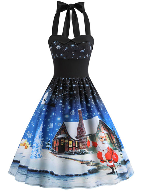 Laceshe Women's Gorgeous Halter Christmas Floral Dress
