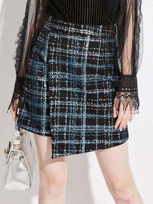Laceshe Women's Asymmetric Plaid Short Skirt