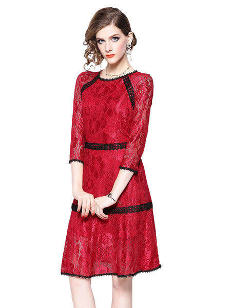 Laceshe Women's 3/4 Sleeve Fall Lace Dress