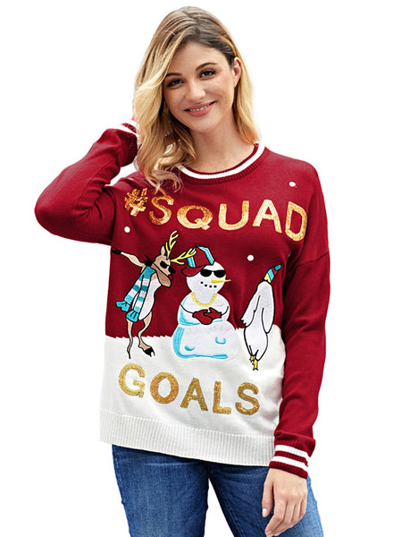 Laceshe Women's Sequined Christmas Snowman Print Long Sleeve Sweater