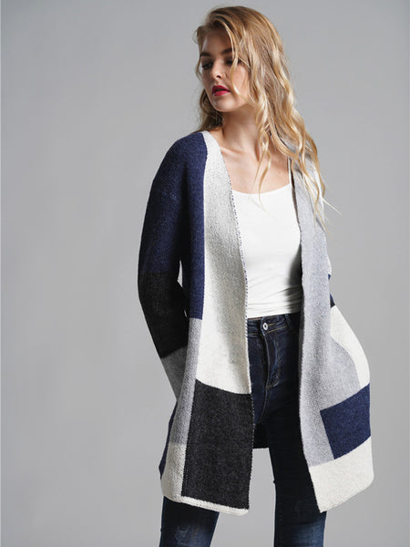 Laceshe Women's Causal Loose Striped Knitted Cardigan