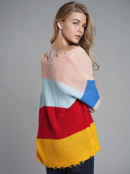 Laceshe Women's Casual Rainbow Oversized Knitted Sweater