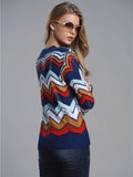 Laceshe Women's Causal Long Sleeve Color Striped Sweater