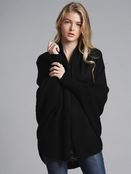 Laceshe Women's Bat Sleeve Big Size Open Front Knitted Cardigan
