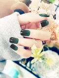 Laceshe 24Pcs/Set Ombre Green Fake Nail Tips