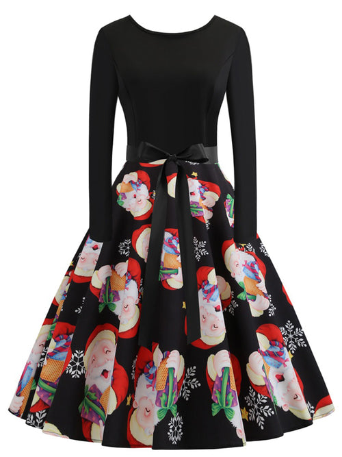 Laceshe Women's Christmas Santa Claus Print Party Vintage Dress
