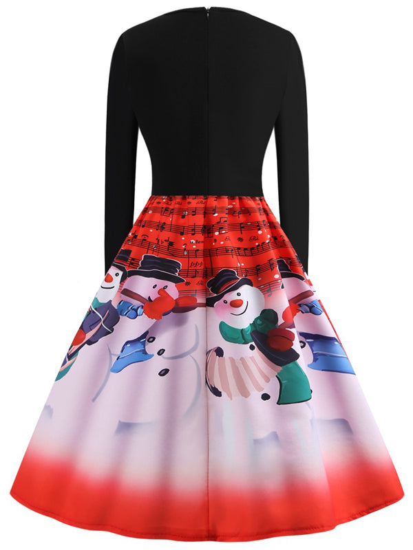 Laceshe Women's Christmas Snowmen Print Pleated Vintage Dress