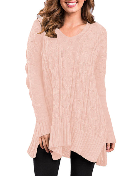Laceshe Women's Baggy Hi-Lo Sweater Jumper