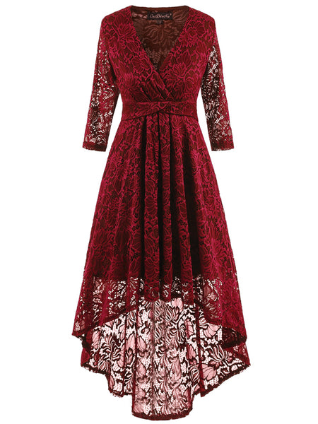 LaceShe Women's Lace up Hi-Lo Lace Dress