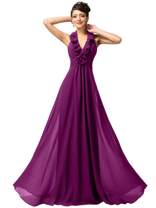 LaceShe Women's Stunning Open Back Chiffon Bridesmaid Dress