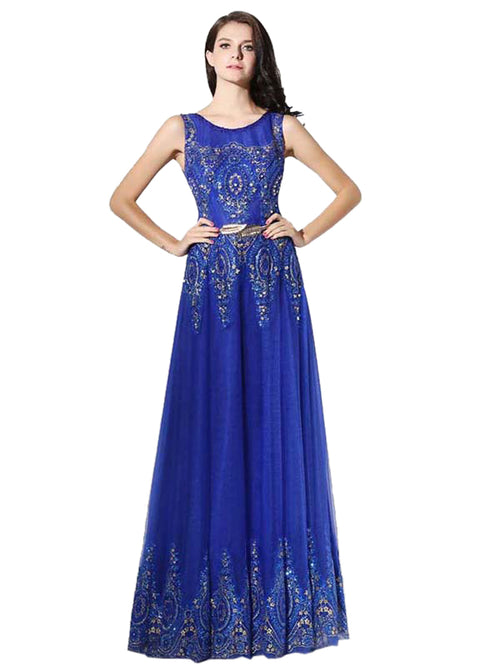 LaceShe Women's Floor Length Bridesmaid Dress With Belt