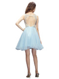 LaceShe Women's Baby Blue Big Swing Homecoming Dress