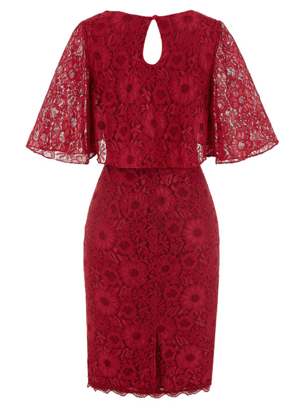 Laceshe Women's Lace Floral Round Neck Cocktail Party Dress