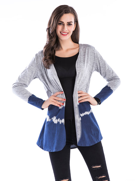 Laceshe Women Knit Cardigan Gradient Casual Outerwear