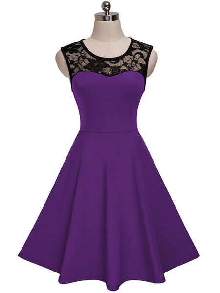 Women Vintage Cocktail Sleeveless Lace Dress