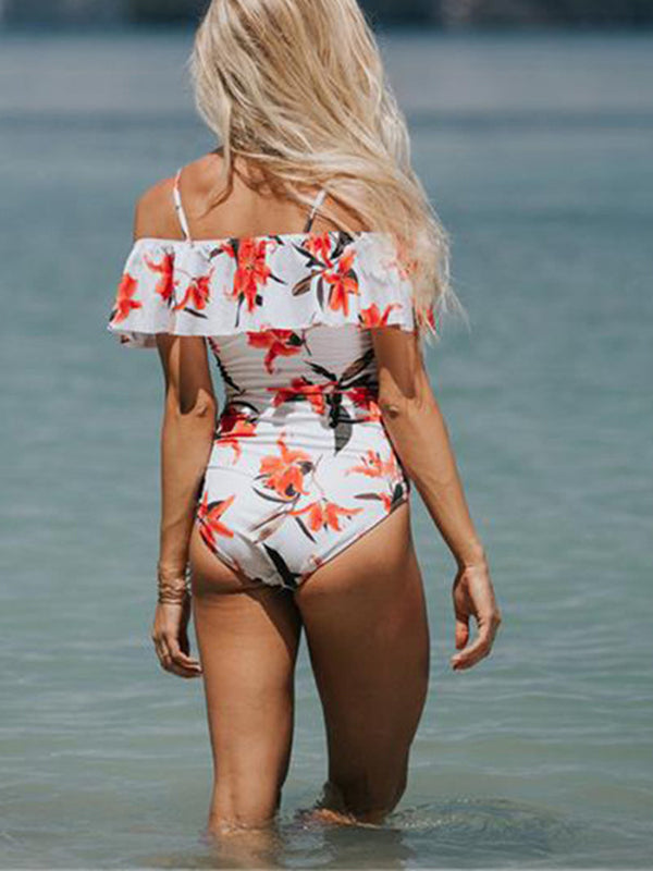 LaceShe Floral Off-the-shoulder One-piece Swimsuit
