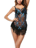 LaceShe Floral Print Tassels Lace Crochet Cover-up