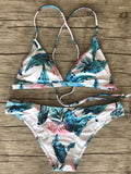 LaceShe Leaf Printed Halter High Waisted Bikini Set