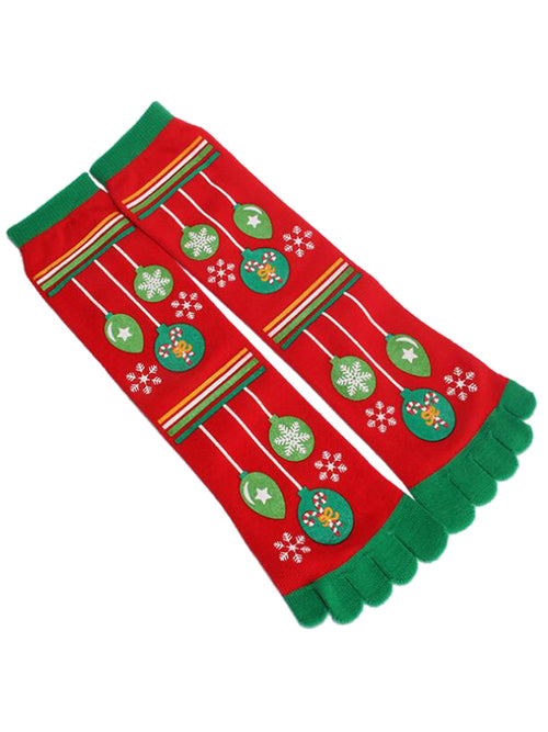 Laceshe 3 Pairs Christmas Cute Snowman Owl Five Toes Socks