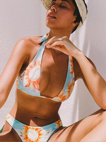 LaceShe Sunflower Printed Halter Bikini Set