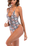 LaceShe Printed Lace-up One-piece Swimsuit