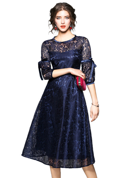 0586a4108 Laceshe Women's Elegant Hollow Floral Long Sleeve Lace Dress – LaceShe