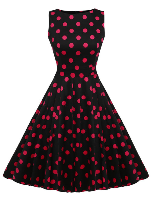 LaceShe Damen Audrey Hepburn Vintage polka dot dress