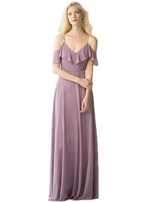 LaceShe Women's Off The Shoulder Chiffon  Bridesmaid Dress