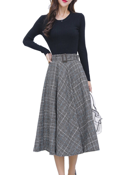 Laceshe Women's Woolen Midi Big Swing Skirt