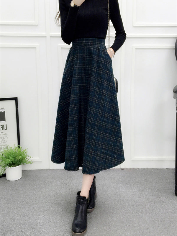 Laceshe Women's Vintage Plaid Elegant Skirt