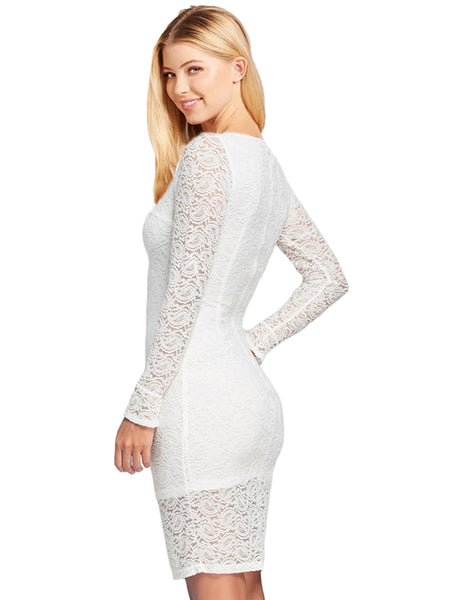 LaceShe Women's Delicate Floral Lace Dress