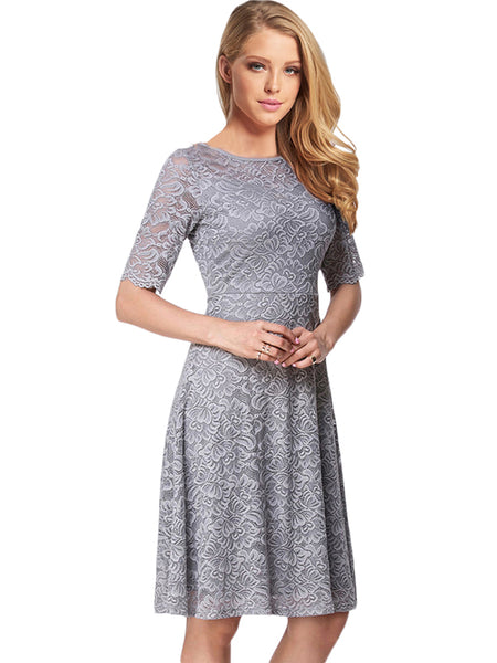 LaceShe Women's Half Sleeve Sheer Neck Lace Dress