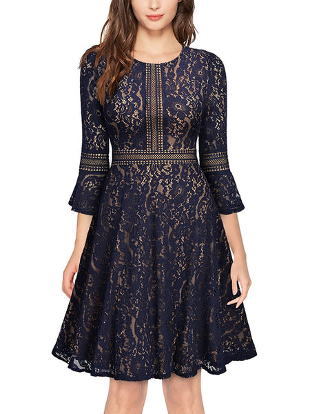 LaceShe Women's 3/4 Sleeve High End Lace Dress
