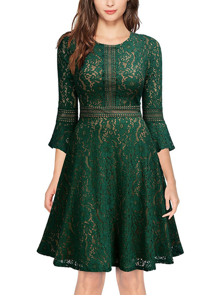 LaceShe Women's Cute Sheer Neck Lace Dress