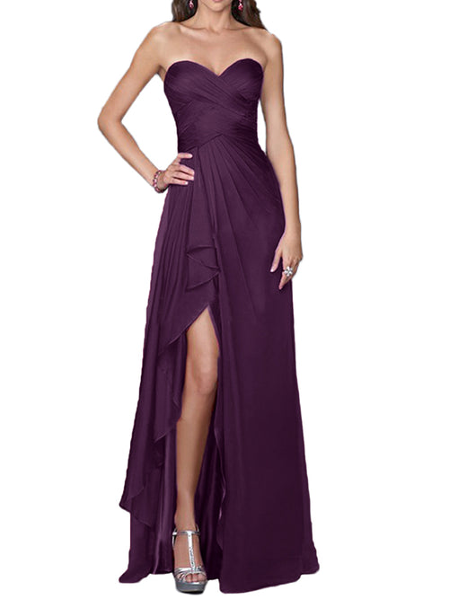 LaceShe Women's Strapless Split Bridesmaid Dress