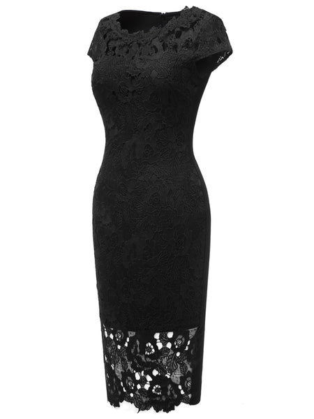 LaceShe Women's Gorgeous Lace Sheath Pencil Dress