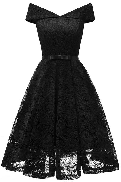LaceShe Women's Vintage Off Shoulder Lace Dress