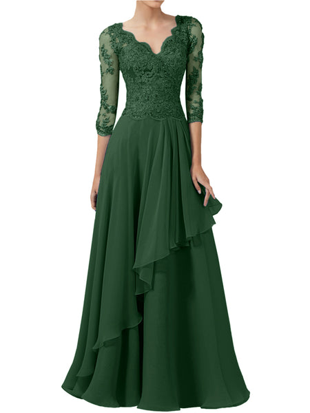LaceShe Women's Stunning V-Neck 3/4 Sleeve Gown Dress