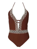 LaceShe Lace Fringe halter Lace-up One-piece Swimsuit