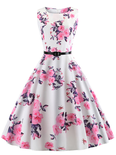 LaceShe Women Vintage Rose Printed Dress