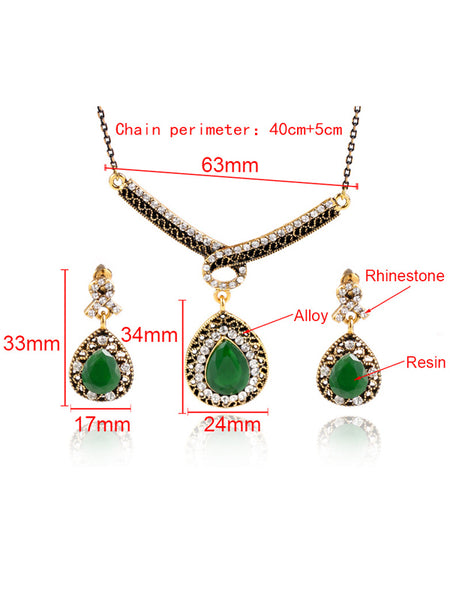 LaceShe Handmade Alloy Gold Plated Earrings Necklace Set