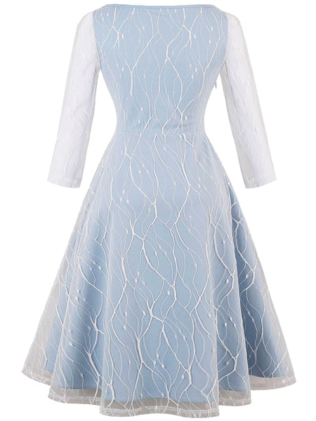 LaceShe Women's Elegant Long Sleeve Slim Lace Dress