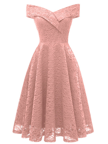 LaceShe Women's Vintage Off Shoulder Lace Floral Dress