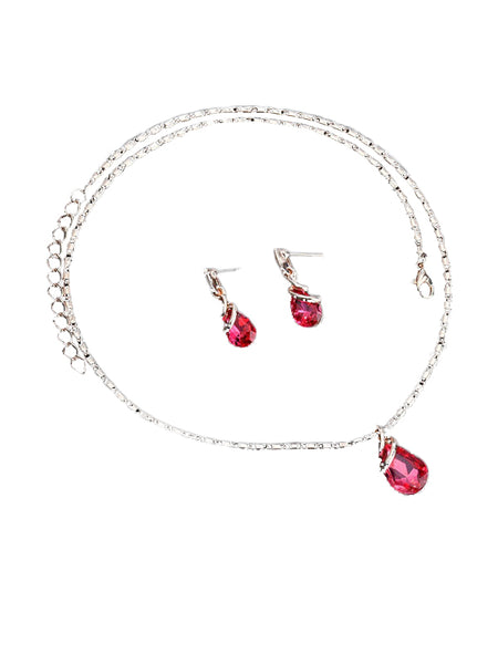 LaceShe Fashion Crystal Necklace Earrings Set